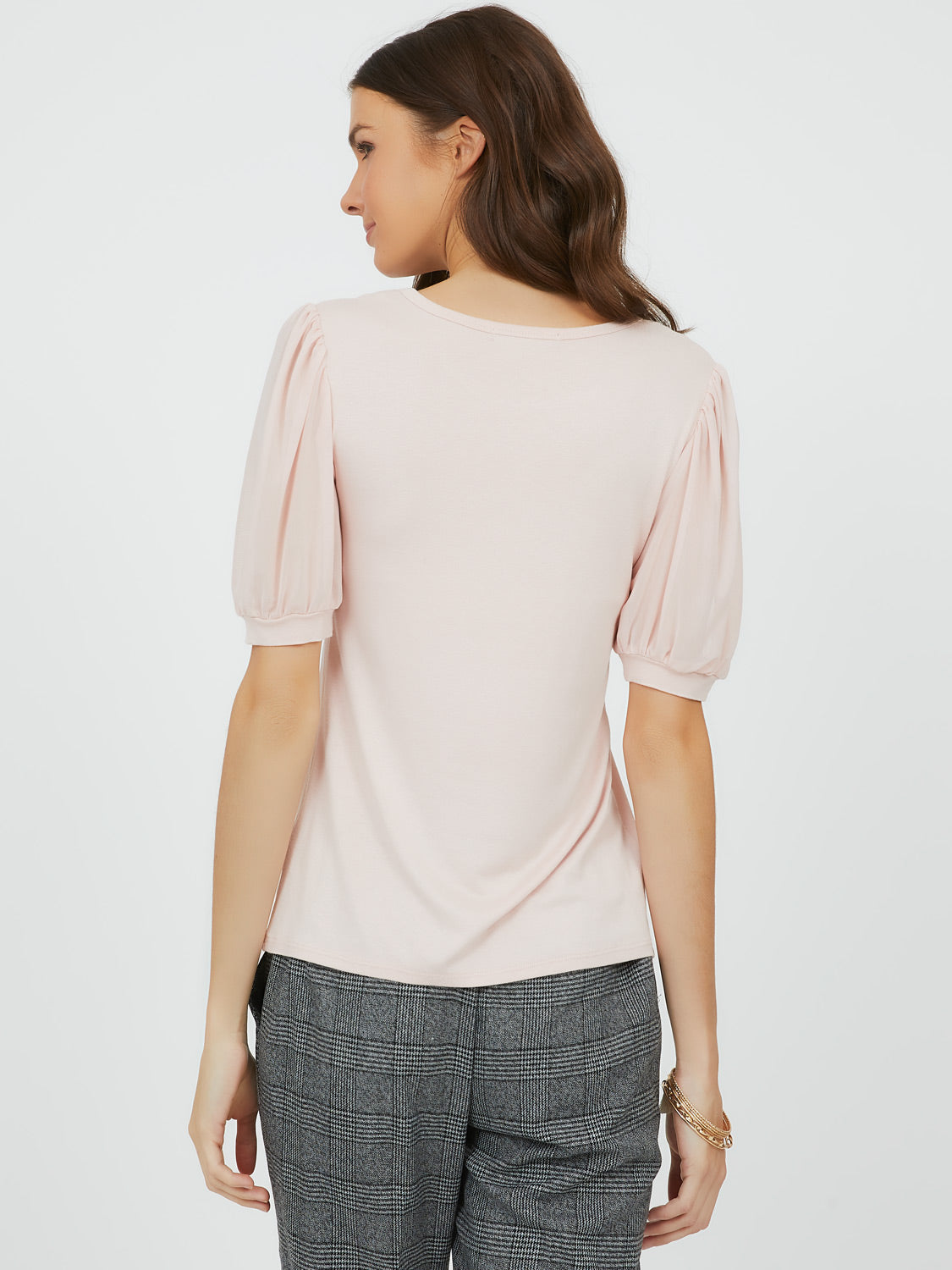 Cute Puff Sleeve Crew Neck Top