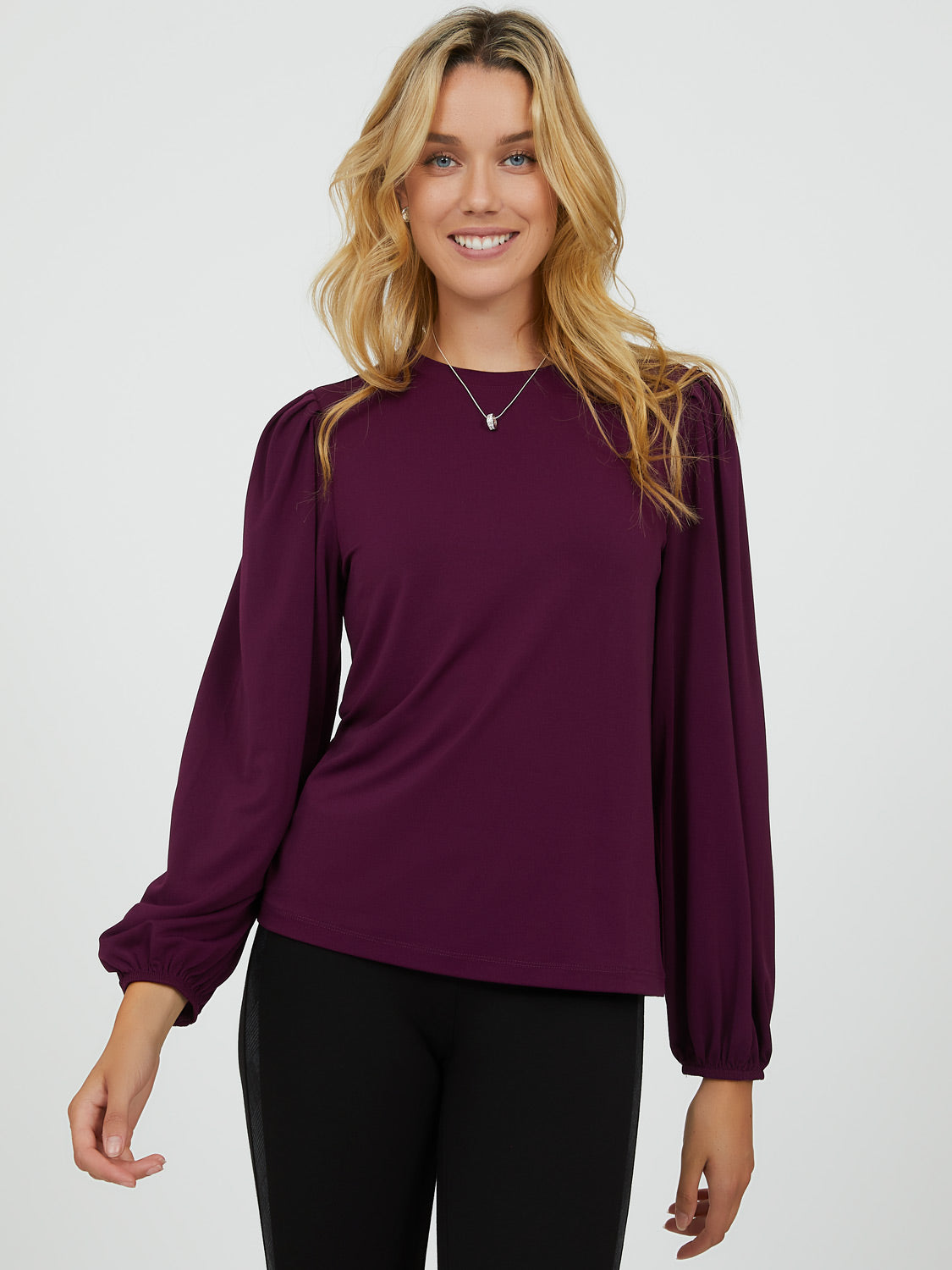 Pleated Balloon Sleeve Top