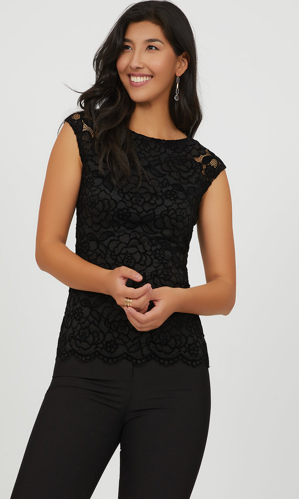 Cap Sleeve Flocked Lace Top