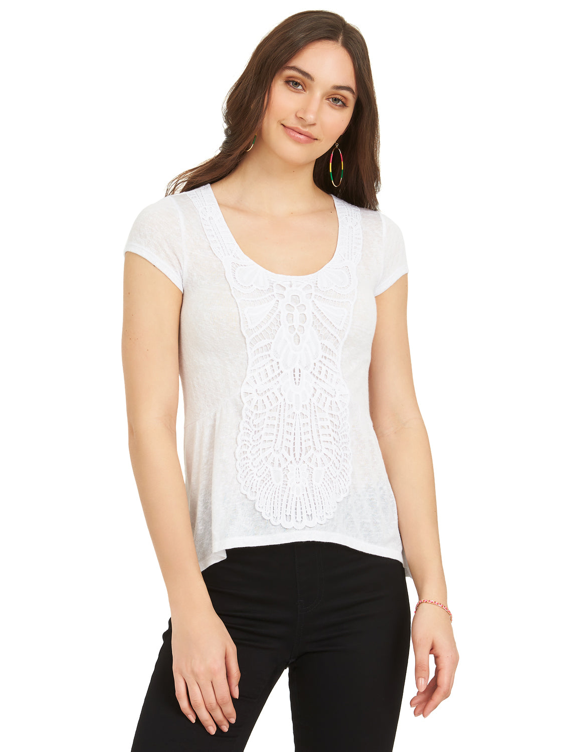 Slub Sleeve Hacci Peplum Tee With Crochet Applique