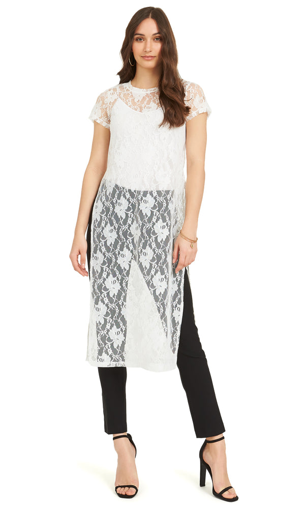 Short Sleeve Lace Tunic Top With Slits