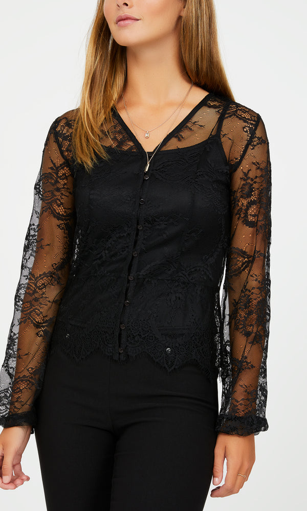 Poof Sleeve All-Over Lace Blouse