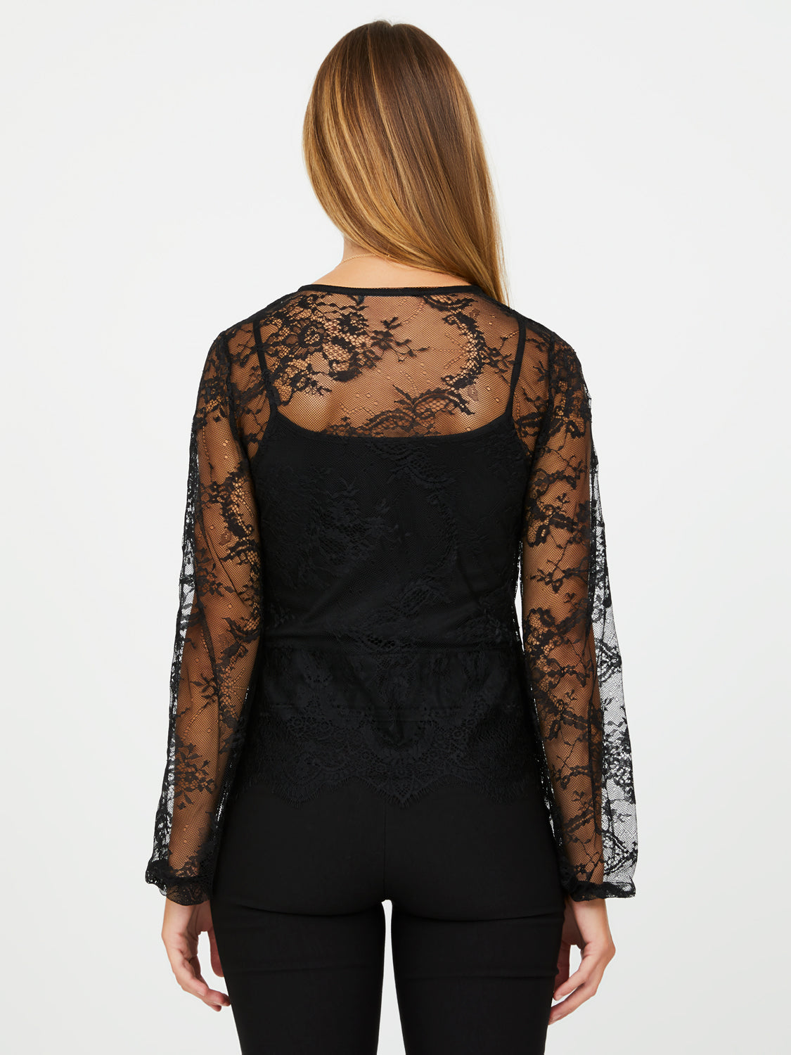Poof Sleeve Allover Lace Blouse