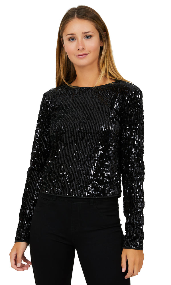 Long Sleeve Sequin And Velvet Top