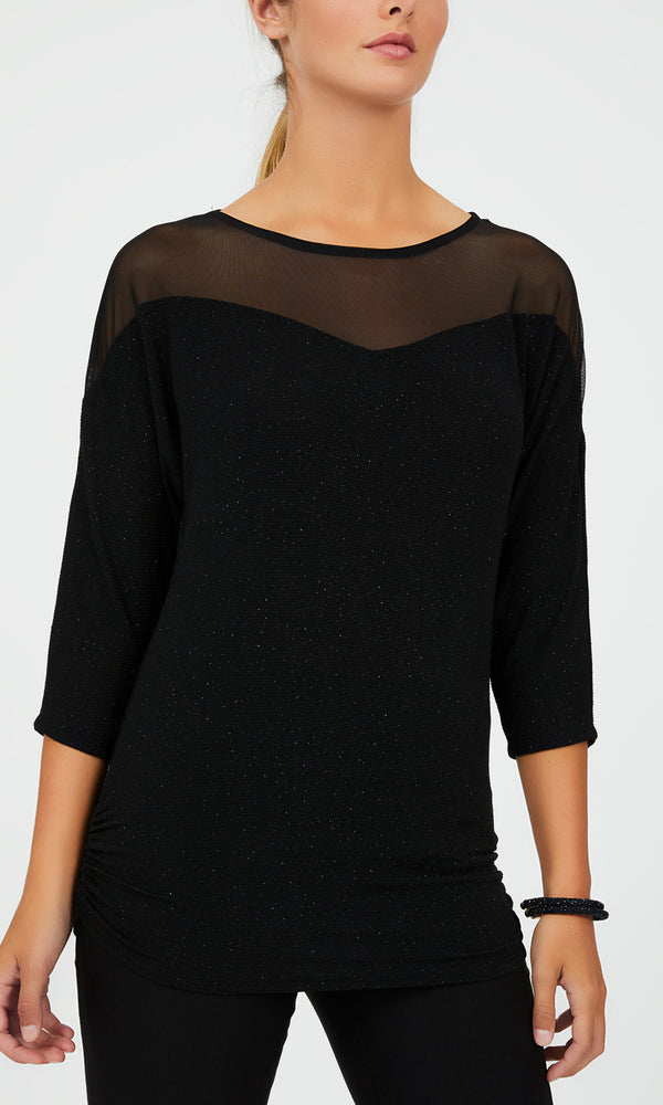 ¾ Dolman Sleeve Glitter Knit Top
