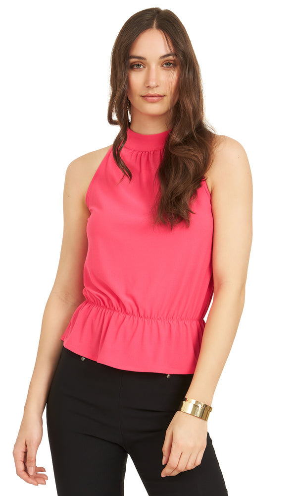 Sleeveless Crepe Tie Back Halter Top