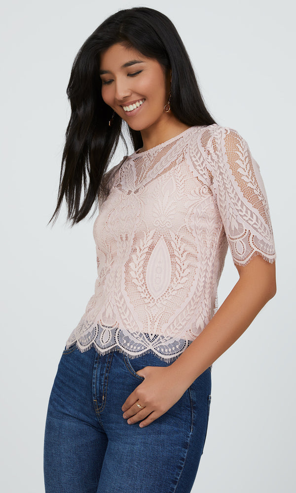 Romantic Lace Elbow Sleeve Top
