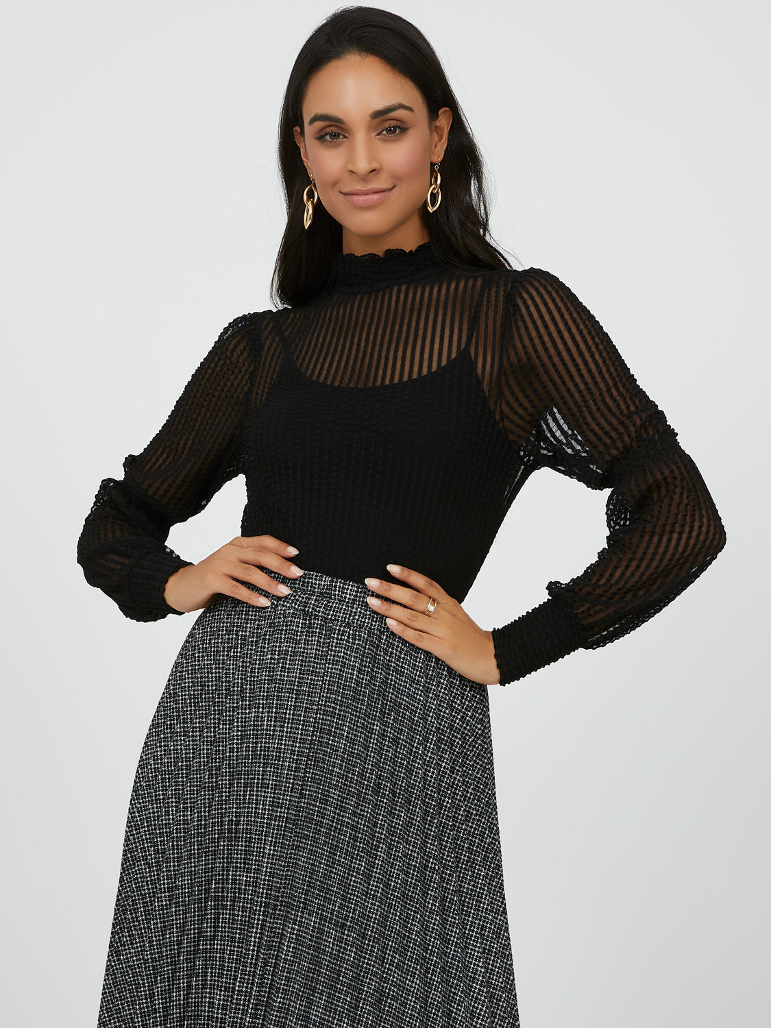 Shadow Stripe Ruffle Neck Top