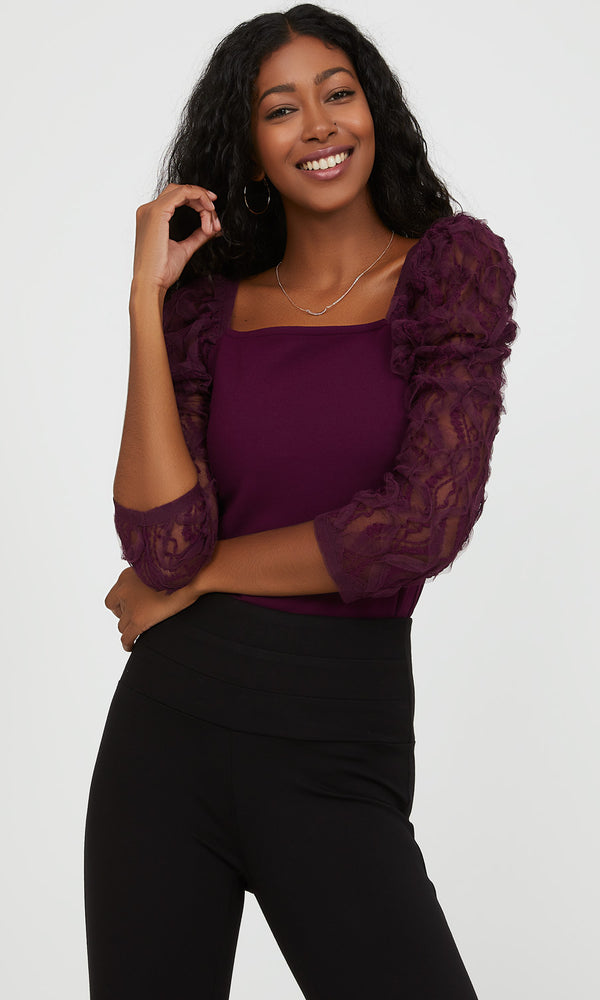 ¾ Puff Lace Sleeve Top
