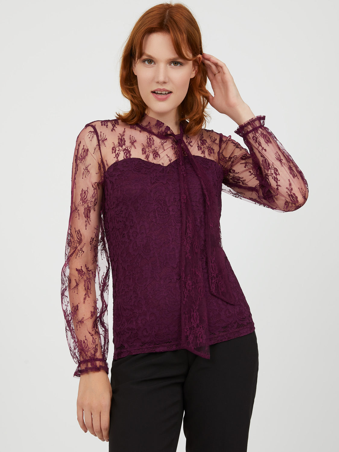 Tie Neck Lace Sleeve Sweetheart Top