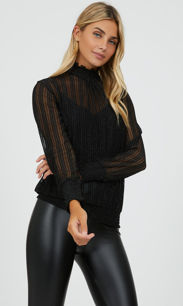 Ribbed Glitter & Mesh Mock Neck Top