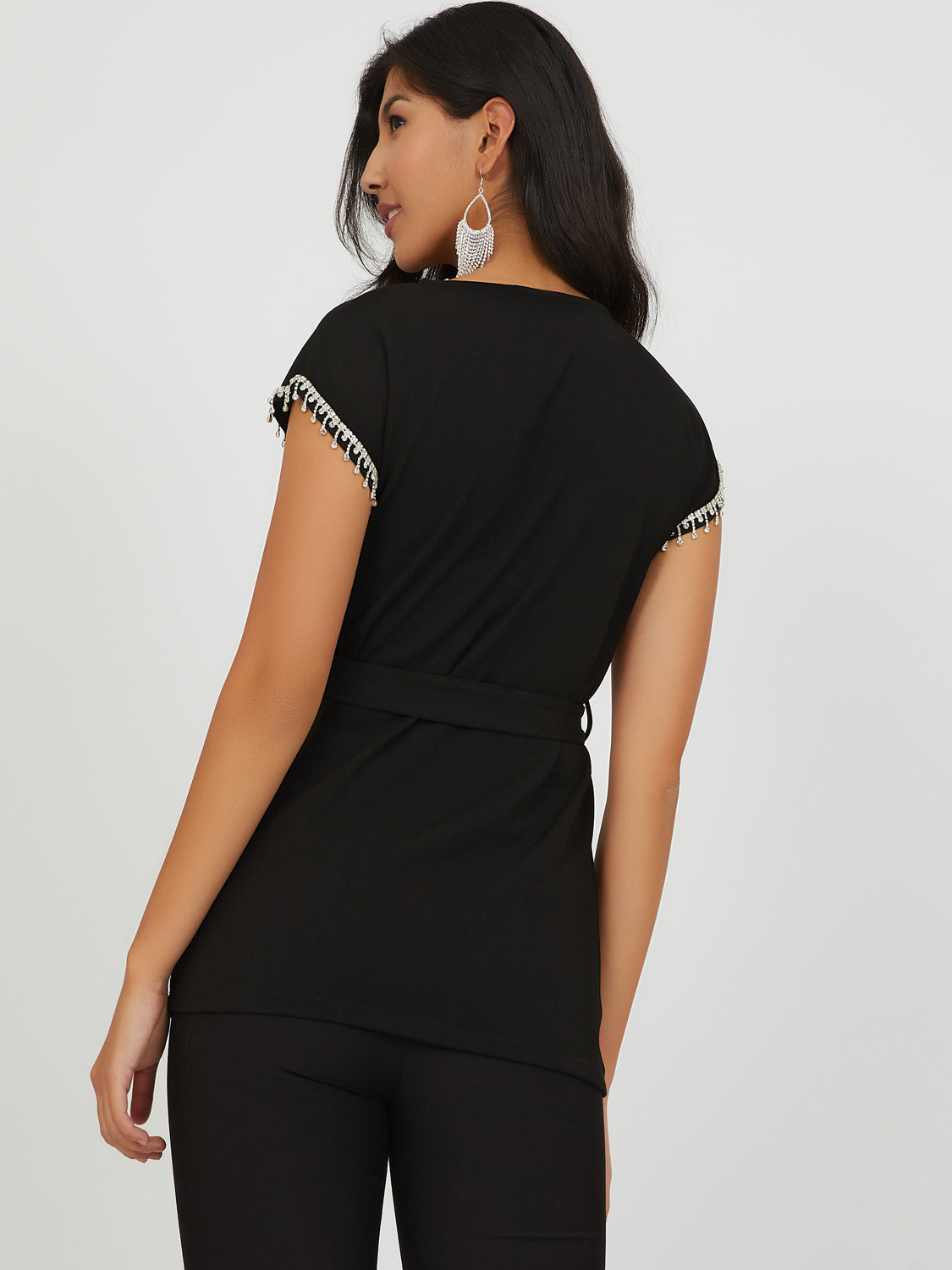 Diamond Trim Crepe Top