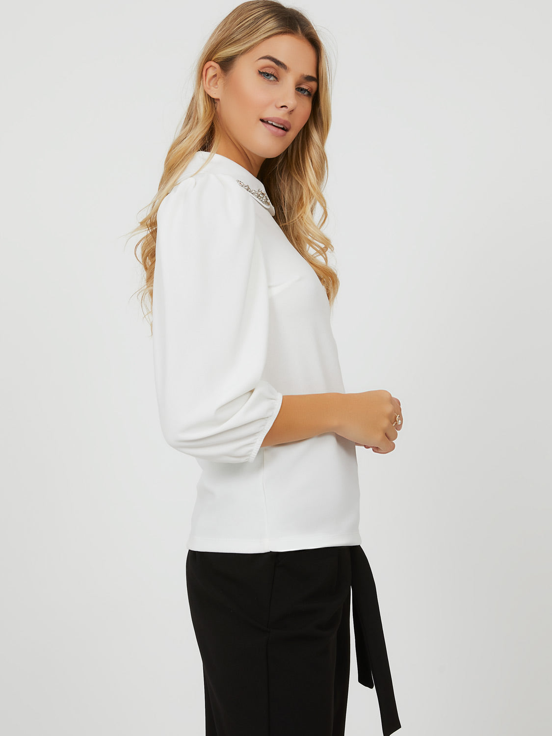 Removable Shirt Collar Puffy Sleeve Top