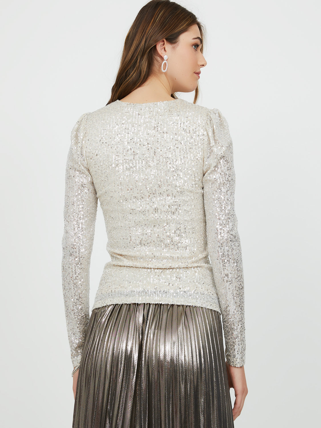 Fitted Puff Sleeve Sequin Top