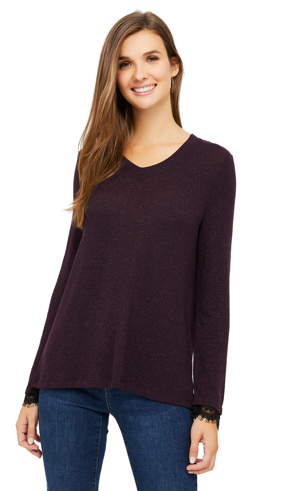 Long Sleeve Metallic Fiber Sweater Knit