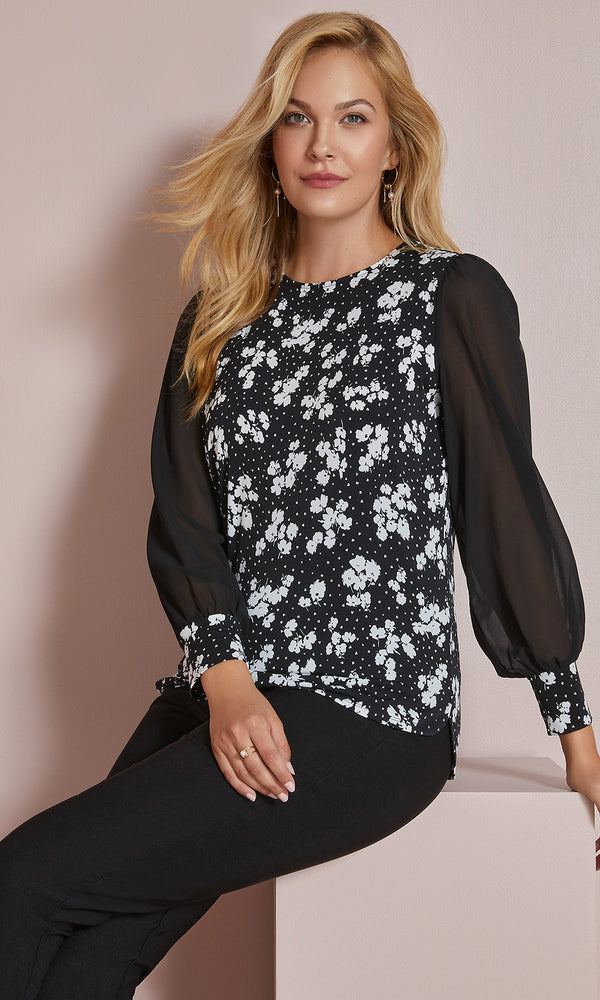 Sheer Balloon Sleeve Printed Chiffon Top