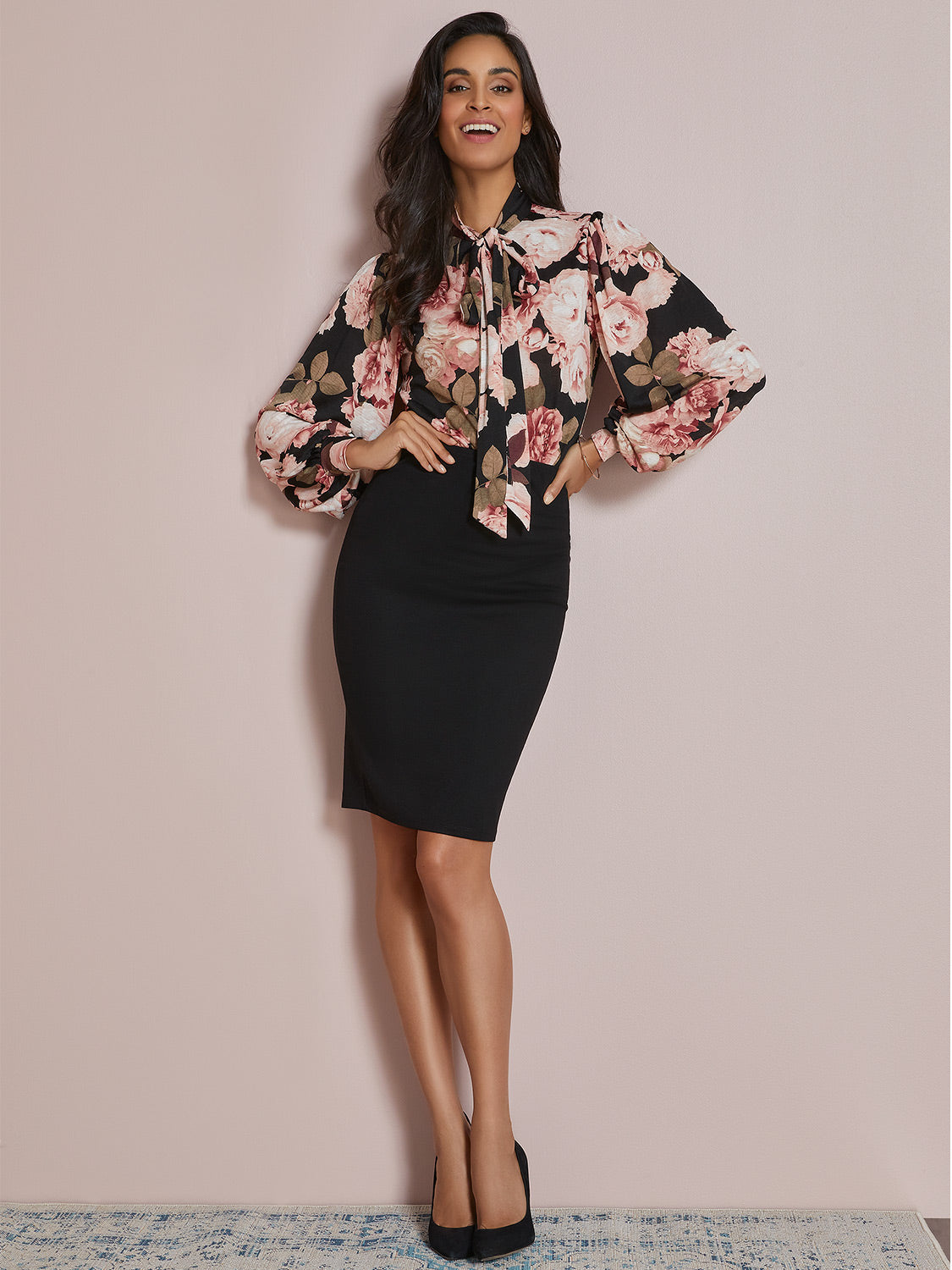 Neck Tie Puff Sleeve Floral Top