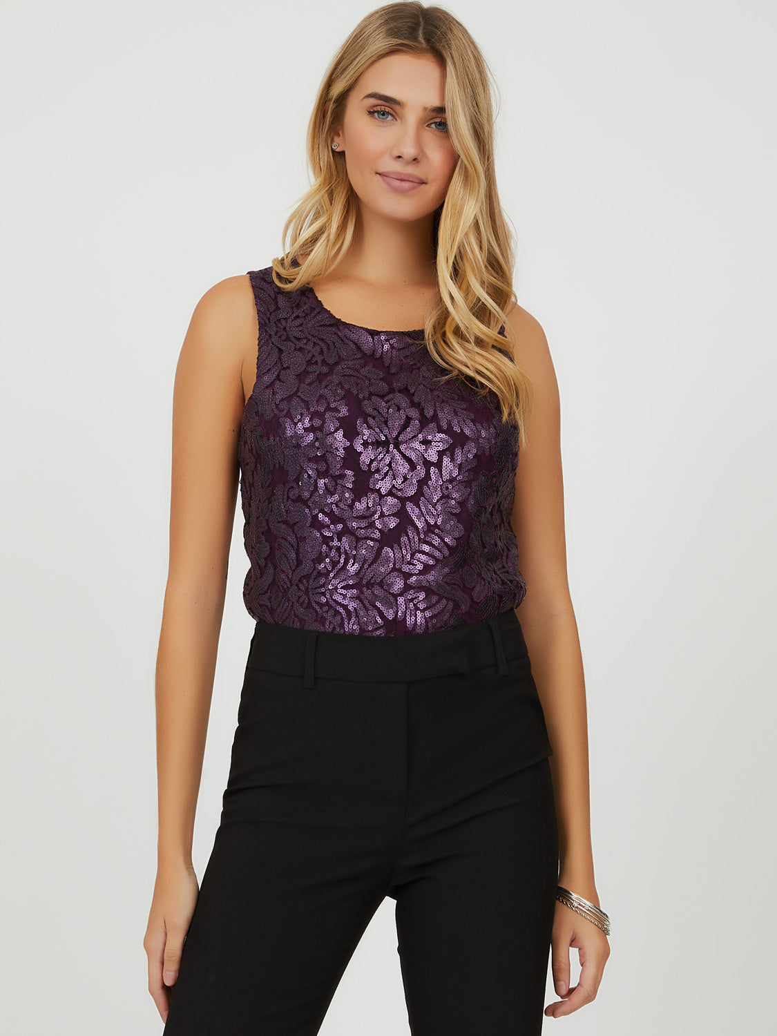 Sleeveless Embroidered Sequin & Mesh Top