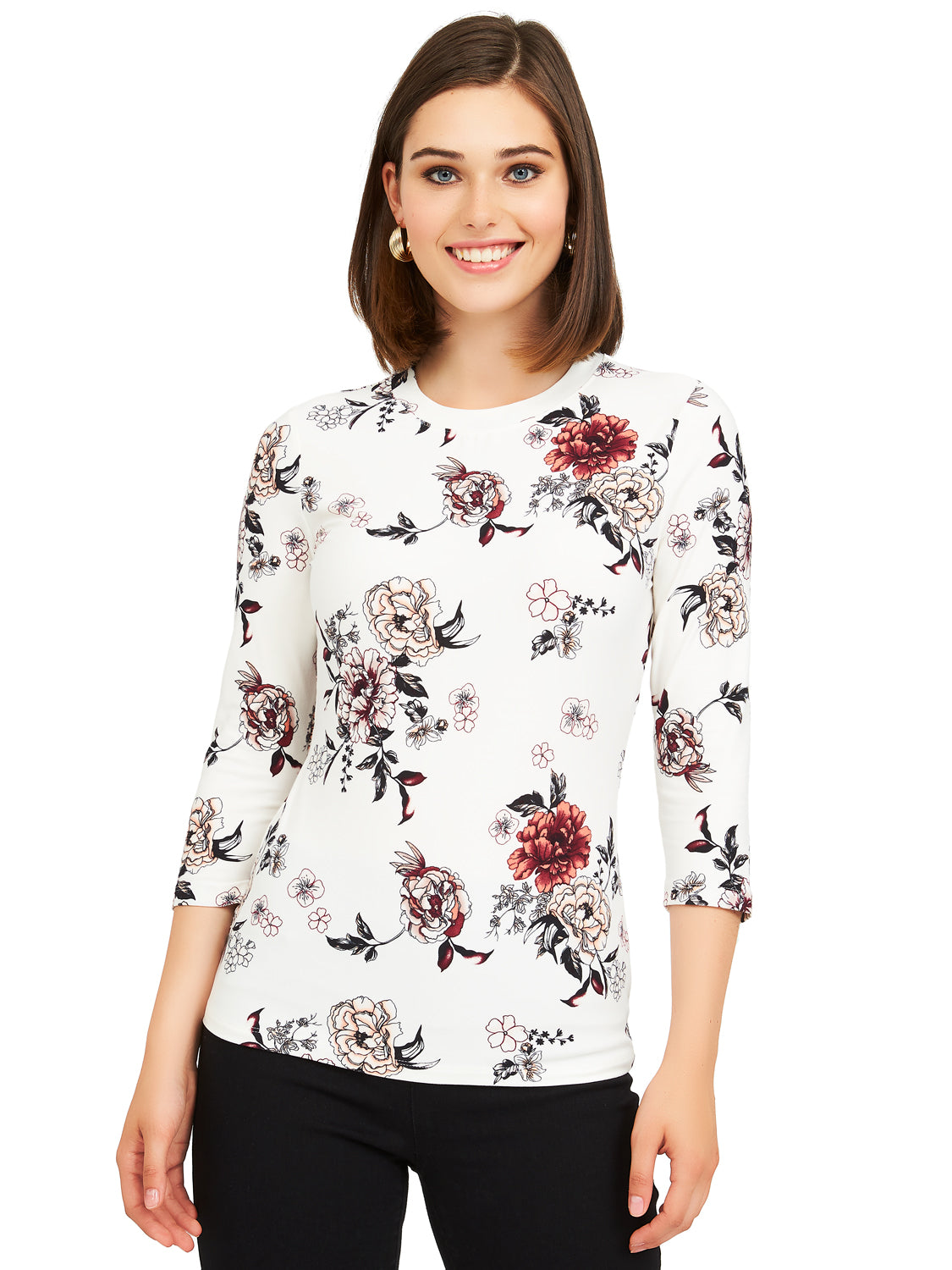 ¾ Sleeve Floral Print Crew Neck Top