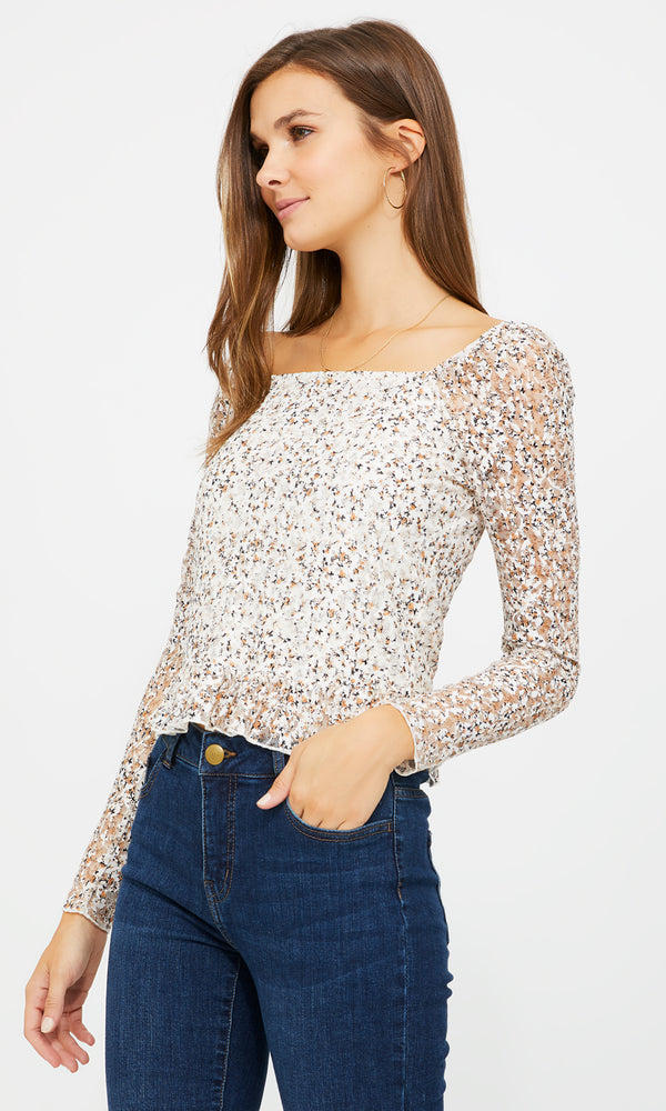 Printed Lace Top With Poof Sleeves