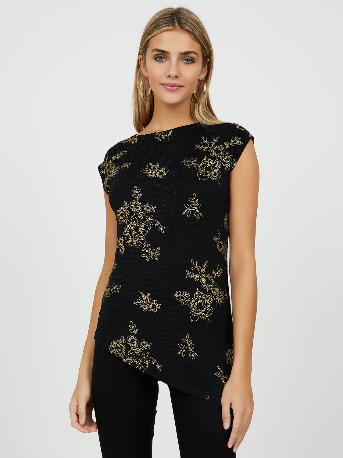 Asymmetrical Short Sleeve Floral Print Top