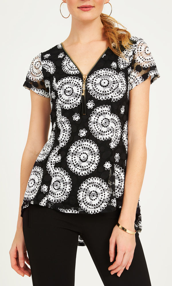Short Sleeve Lace Print Fit & Flare Top