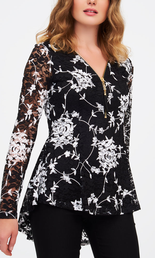 Printed Lace Fit & Flare Top