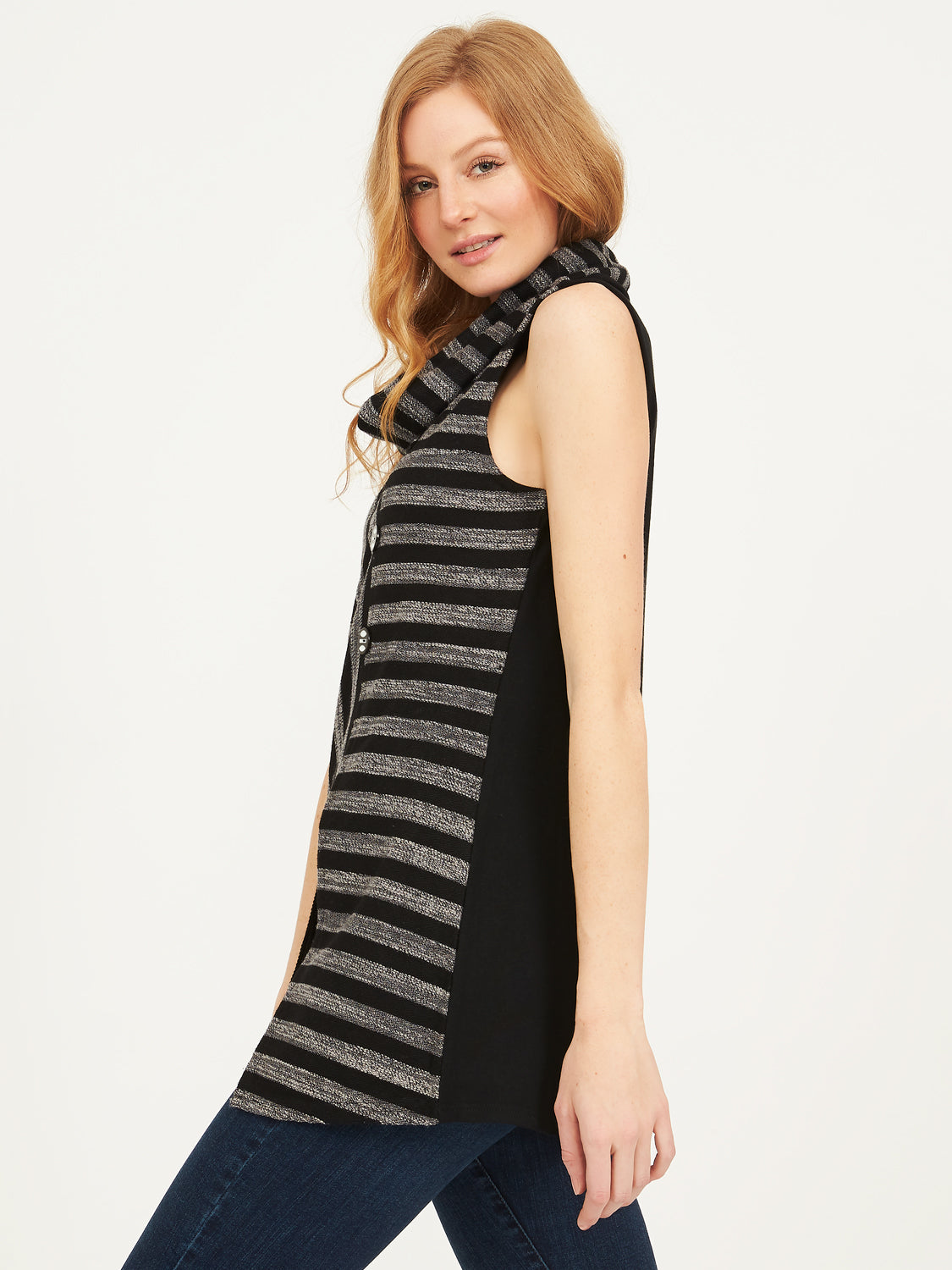 Sleeveless Cowl Neck Striped Jacquard Top