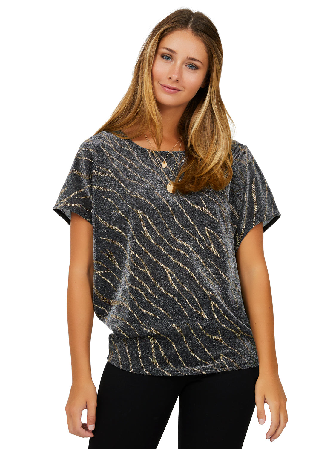 Short Sleeve Glitter Burnout Print Top