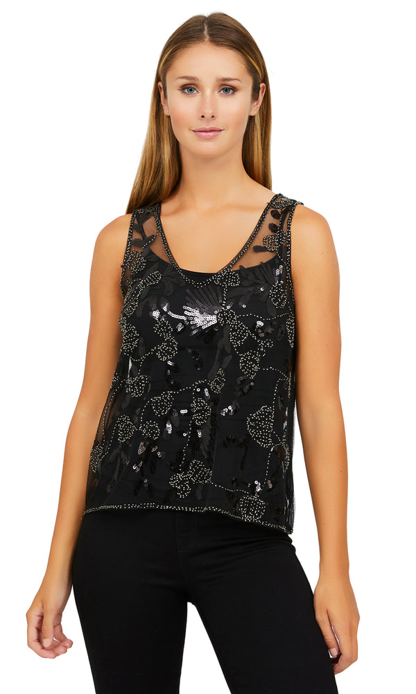 Bead Embroidered V-Neck Mesh Tank Top