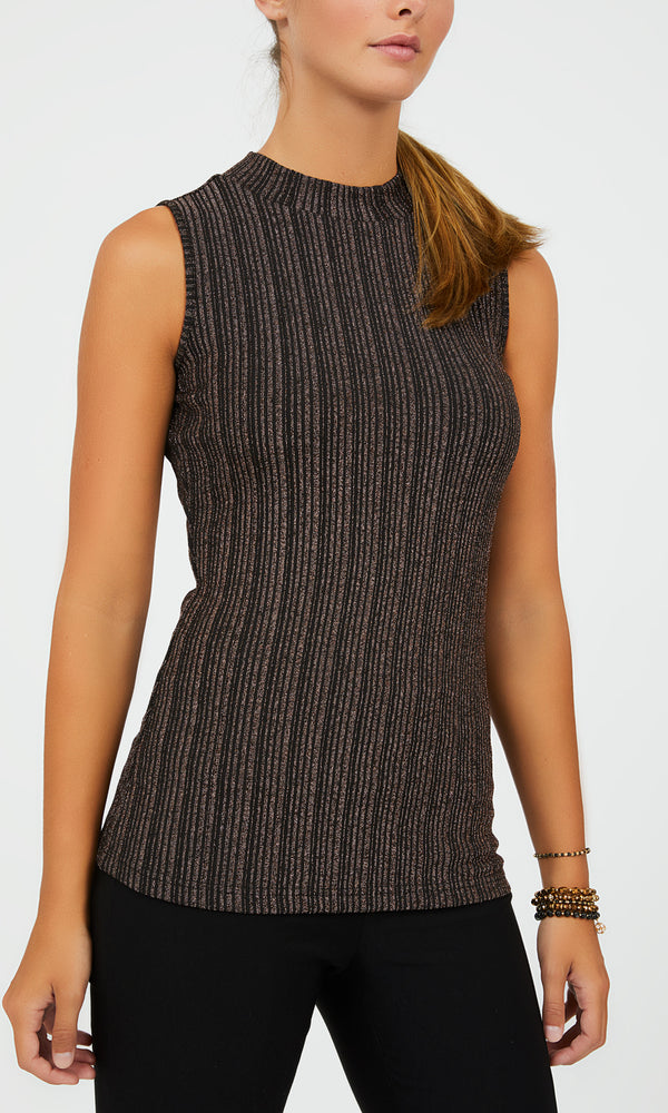Metallic Variegated Stripe Mock Neck Top