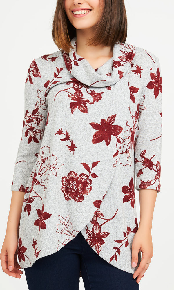 Floral Brushed Hacci Crossover Top