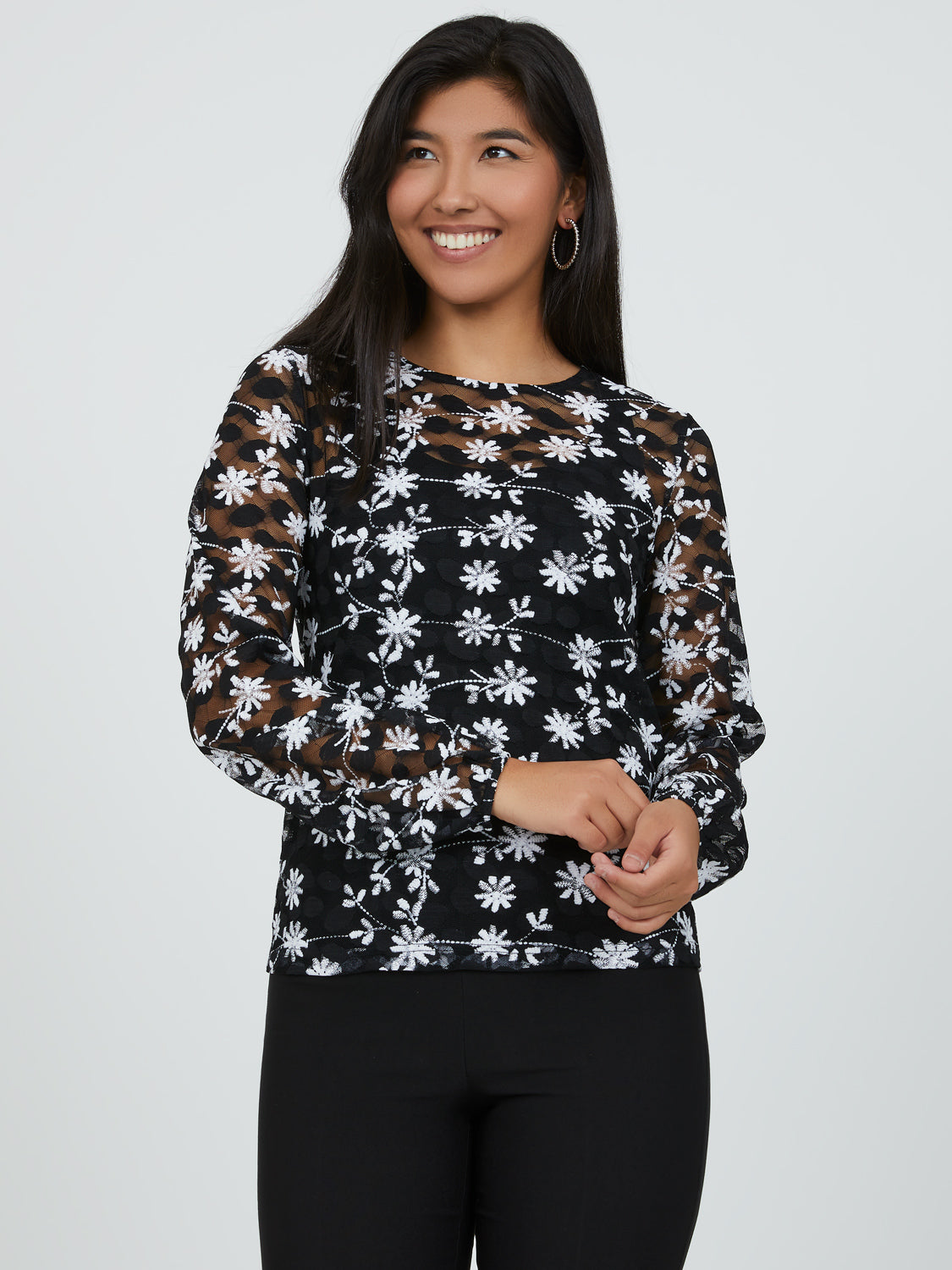 Printed Lace Statement Top