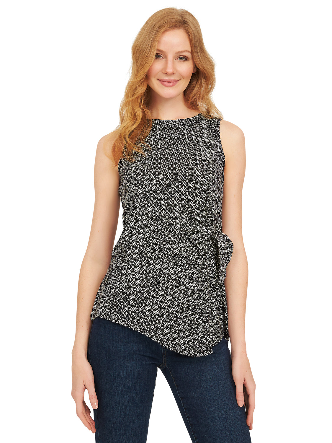 Printed-Asymmetrical Sleeveless Tunic Tank With Side Detail