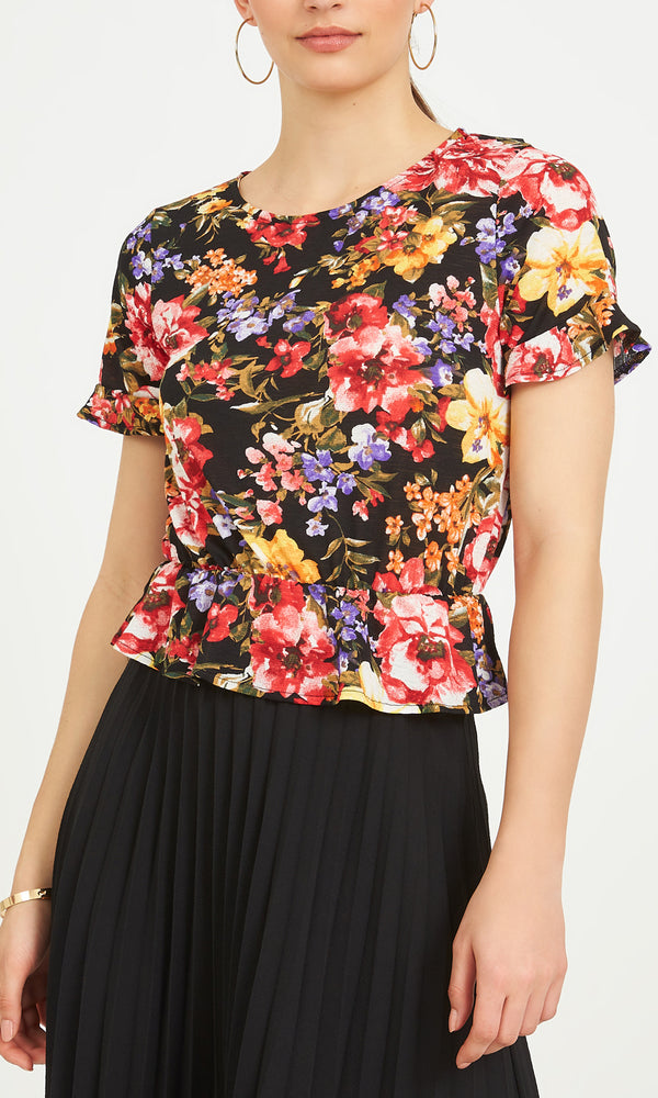 Floral Flutter Sleeves Peasant Top