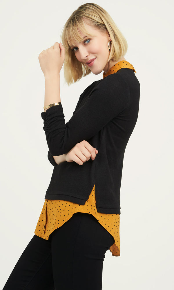 ¾ Ruched Sleeve Print Top