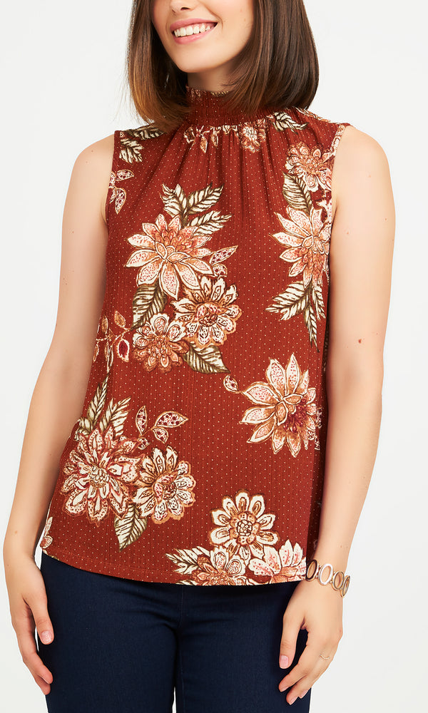 Floral Print Onion Skin Rib Knit Top