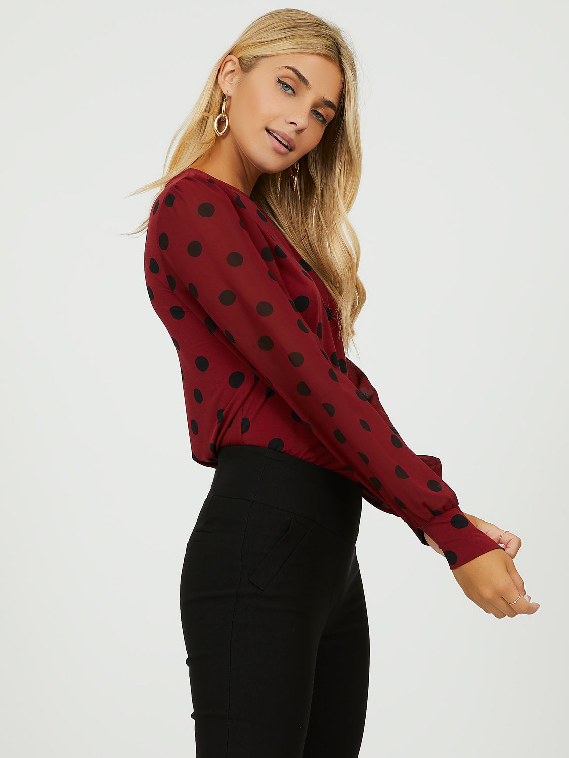 Bubble Sleeve Dotted Chiffon Top