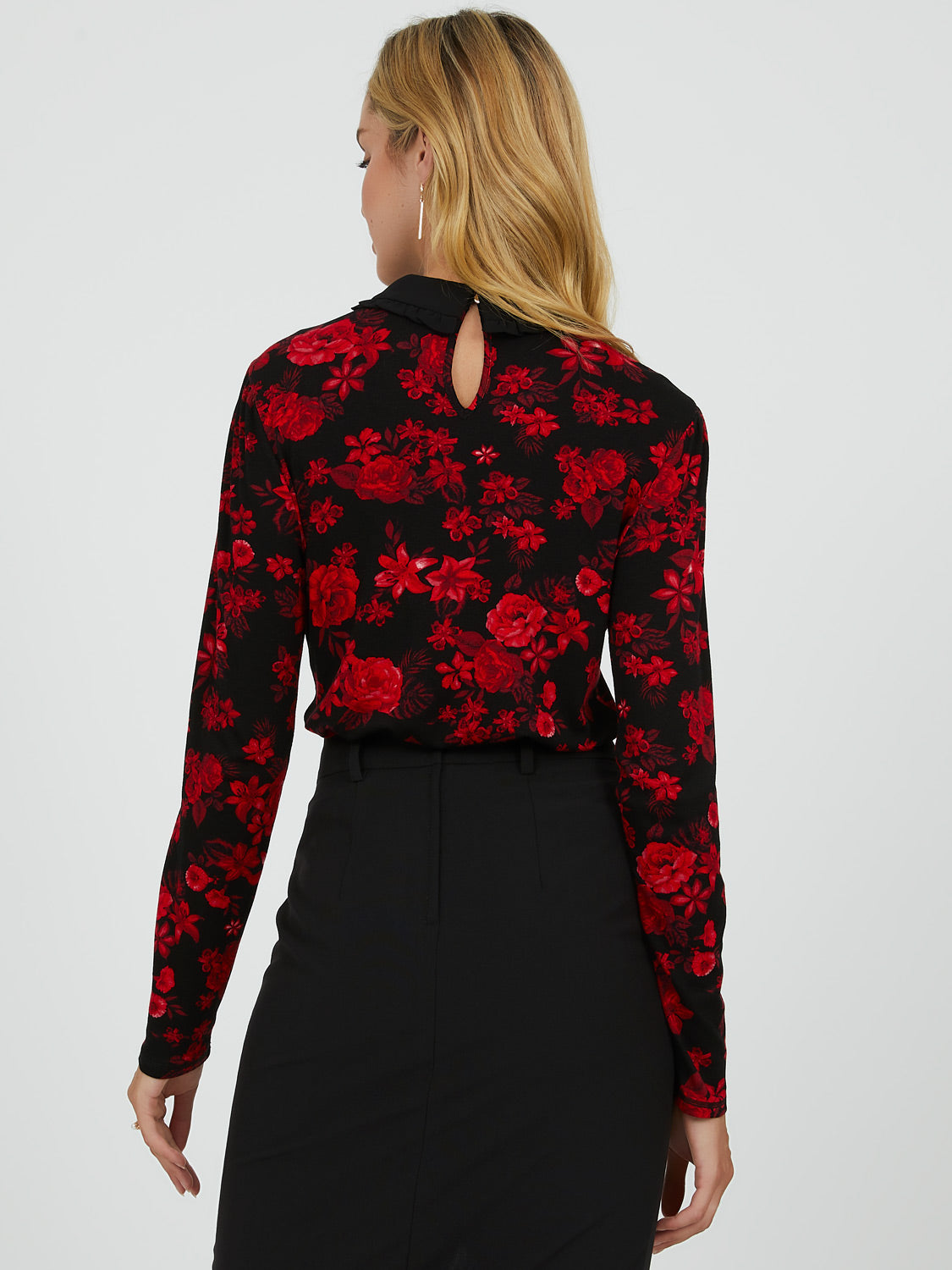 Chiffon Peter Pan Collar Floral Top