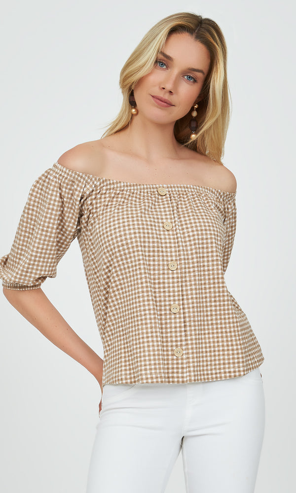 ¾ Sleeve Off-The-Shoulder Gingham Top