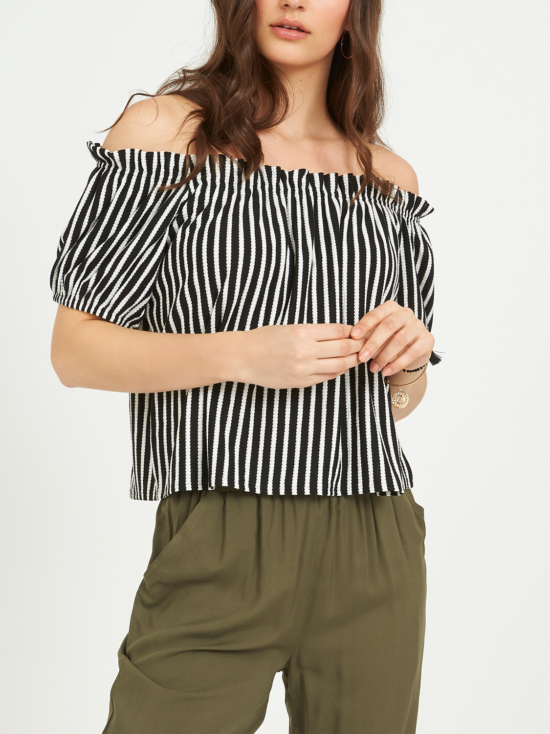 Striped Bubble Sleeve Top