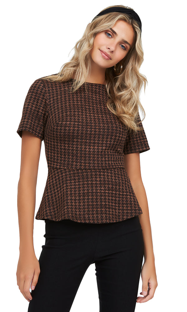 Houndstooth Jacquard Knit Peplum Top