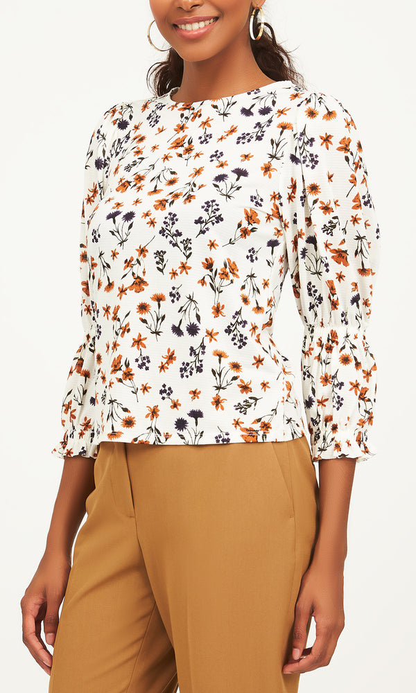 ¾-Poet-Sleeve-Ditsy-Print-Top