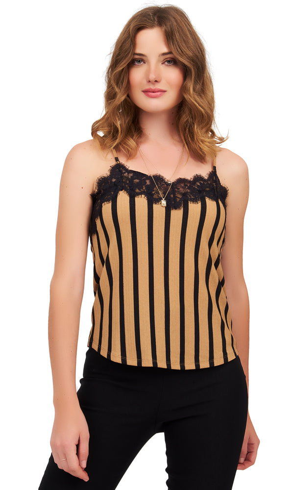 Striped Satin & Lace Camisole