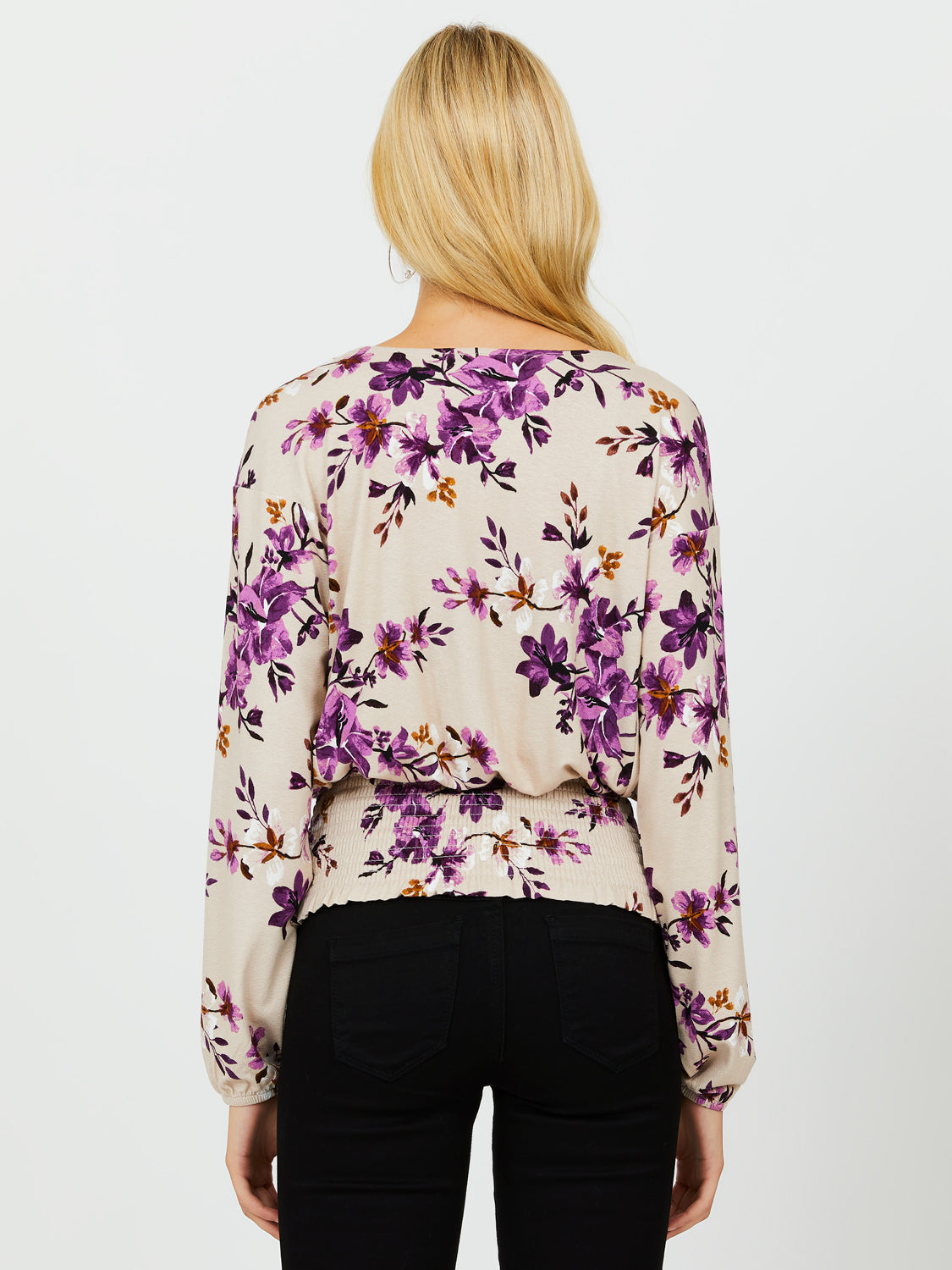 Long Sleeve Flower Print Crepe Top