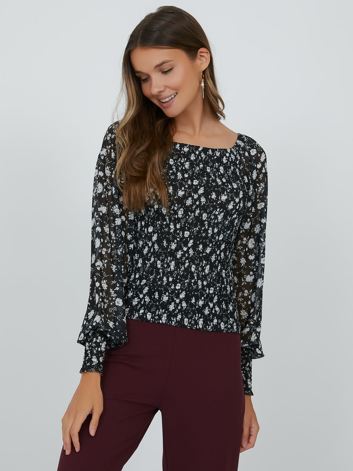 Puff Sleeve Square Neck Floral Top