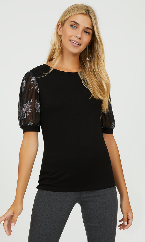 Printed Mesh Puff Sleeve Crew Neck Top