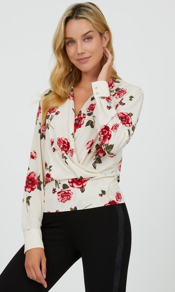 Crossover Floral Crepe Top