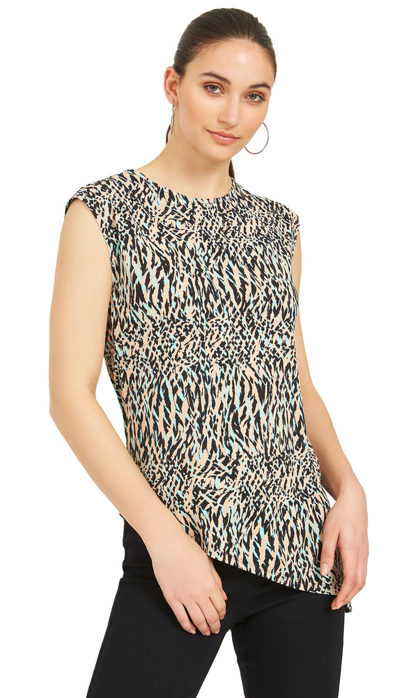 Printed Sleeveless Top With Asymmetrical Hem