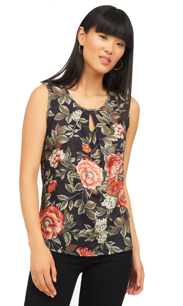 Pleated Sleeveless Floral Top